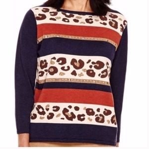 NWT Alfred Dunner navy animal striped sweater PM